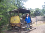 Joyce beside Antique Rail Car